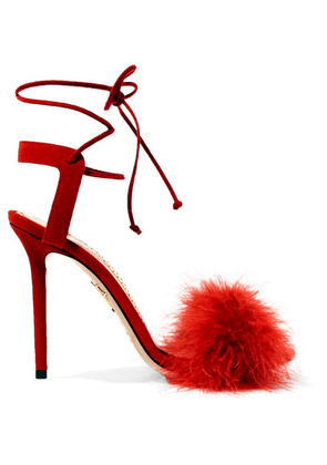 Charlotte Olympia - Salsa Feather-trimmed Suede Sandals - Red