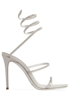 René Caovilla - Cleo Crystal-embellished Metallic Leather Sandals - Silver