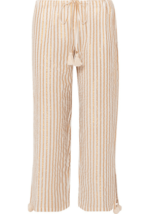 Figue - Goa Cropped Striped Cotton And Lurex-blend Pants - Beige