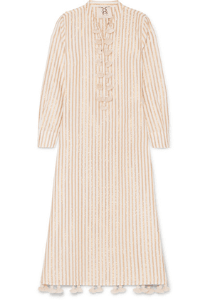 Figue - Paolina Tasseled Striped Cotton And Lurex-blend Dress - Beige