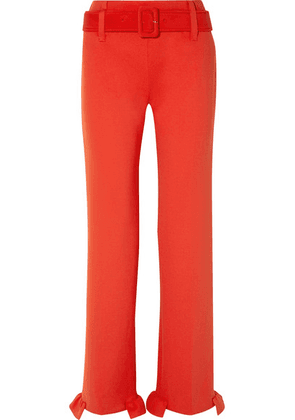 Prada - Belted Ruffled Tech-jersey Straight-leg Pants - Tomato red