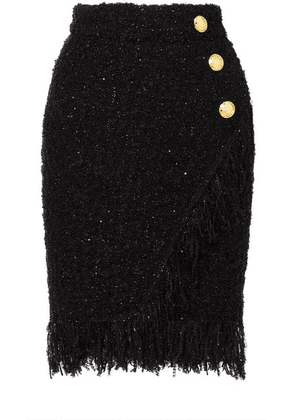 Balmain - Wrap-effect Button-embellished Fringed Metallic Tweed Skirt - Black