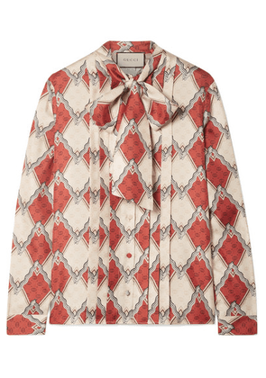 Gucci - Pussy-bow Pintucked Printed Silk-twill Blouse - Red