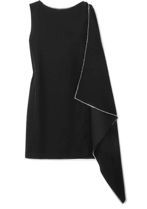 McQ Alexander McQueen - Crystal-embellished Draped Crepe Mini Dress - Black