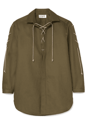 SAINT LAURENT - Lace-up Cotton And Ramie-blend Shirt - Army green