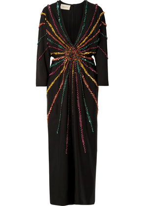 Gucci - Embellished Silk Crepe De Chine Gown - Black