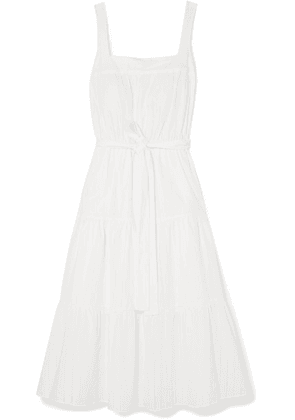 MICHAEL Michael Kors - Belted Pleated Pointelle-trimmed Cotton Midi Dress - White
