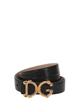 30mm D&g Croc Embossed Leather Belt