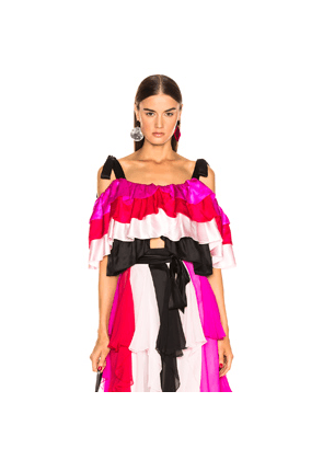 Rodarte Tiered Off the Shoulder Blouse in Pink,Red,Stripes,White