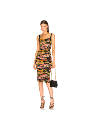 Dolce & Gabbana Multi Floral Print Tulle Tubino Dress in Black,Floral,Red