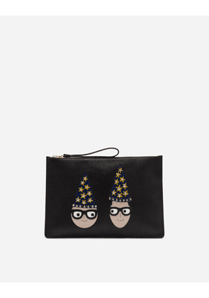 Dolce & Gabbana Mini Bags and Clutches - LARGE CLUTCH IN DRUMMED CALFSKIN WITH DESIGNERS' PATCHES BLACK