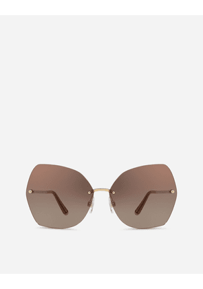 Dolce & Gabbana Sunglasses - BUTTERFLY SUNGLASSES WITH METAL DETAILS SHINY GOLD