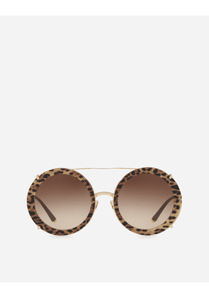 Dolce & Gabbana Sunglasses - ROUND SUNGLASSES IN GOLD METAL WITH CLIP-ONS IN LEO PRINT GOLD WITH BORDEAUX / LEO PRINT