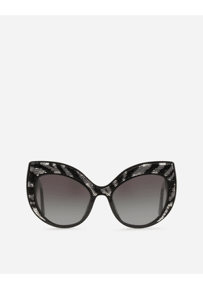 Dolce & Gabbana Sunglasses - OVERSIZE CAT-EYE SUNGLASSES IN ACETATE WITH SEQUINS BLACK WITH SHINY SEQUINS