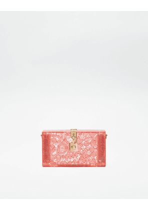 Dolce & Gabbana Mini Bags and Clutches - DOLCE BOX CLUTCH IN PLEXIGLASS AND LACE PEONY
