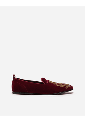 Dolce & Gabbana Loafers and Slippers - VELVET SLIPPERS WITH COAT OF ARMS EMBROIDERY BURGUNDY