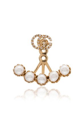 Gucci metallic gold-plated diamond and pearl cuff earring