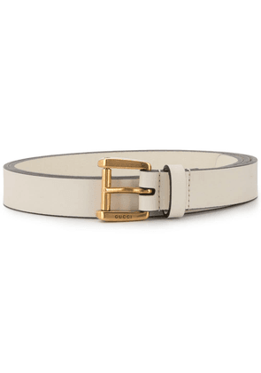 Gucci logo embossed tang buckle - White