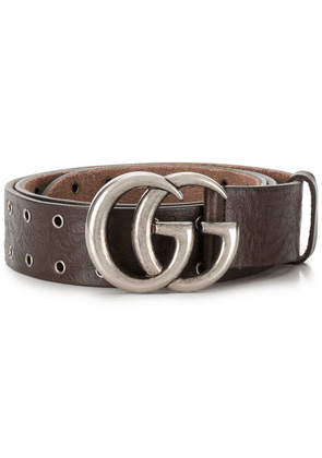 Gucci Double G buckle eyelet belt - Brown