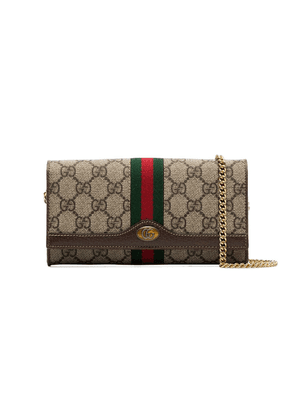 Gucci beige mini GG print logo stripe leather trim canvas cross body