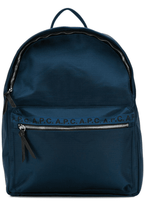 A.P.C. Marc logo print backpack - Blue