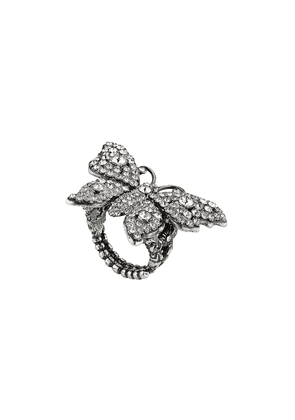 Gucci Crystal studded butterfly ring in metal - Silver