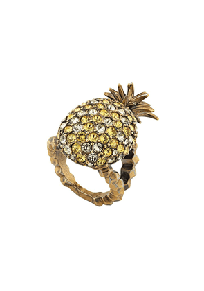 Gucci Crystal studded pineapple ring in metal - Gold