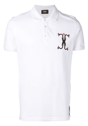 Fendi Snake-embroidered polo shirt - White