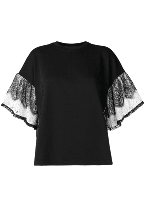 McQ Alexander McQueen frilly lace sleeve top - Black