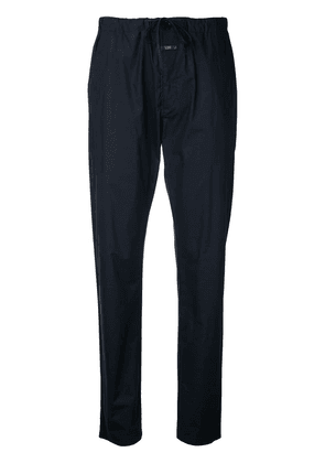 Closed tapered drawstring trousers - Blue