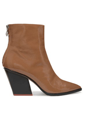 aeyde - Cherry Patent-leather Ankle Boots - Tan
