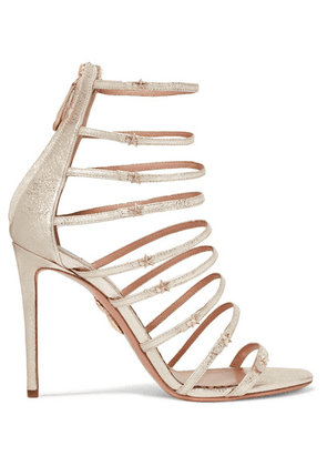 Aquazzura - + Claudia Schiffer Star Embellished Metallic Textured-leather Sandals - Gold