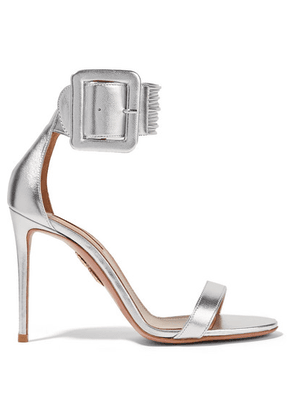 Aquazzura - Casablanca Metallic Leather Sandals - Silver
