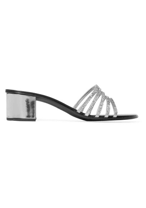 Giuseppe Zanotti - Roll Crystal-embellished Metallic Leather Mules - Silver