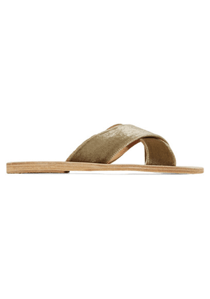 Ancient Greek Sandals - Thais Velvet And Leather Slides - Army green