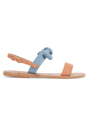 Ancient Greek Sandals - Clio Bow-embellished Denim And Leather Sandals - Tan