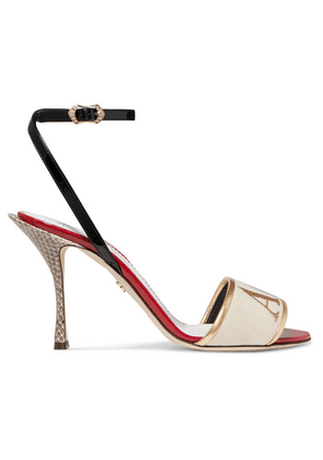 Dolce & Gabbana - Embroidered Velvet, Leather And Watersnake Sandals - Gold