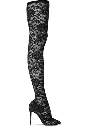 Dolce & Gabbana - Stretch-lace Thigh Sock Boots - Black