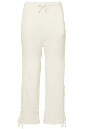 McQ Alexander McQueen - Lace-up Knit-paneled Cotton Track Pants - Cream