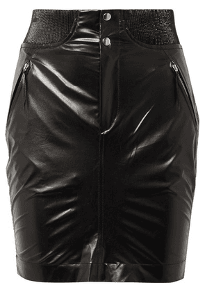 Isabel Marant - Amel Ribbed Knit-trimmed Coated-silk Mini Skirt - Black