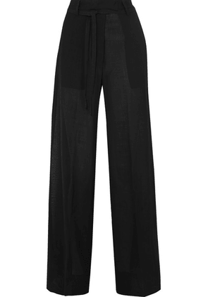 Ann Demeulemeester - Wool-blend Voile Wide-leg Pants - Black