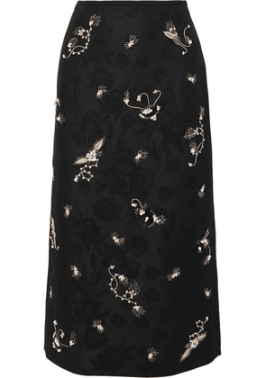 Erdem - Maira Embroidered Cotton-blend Jacquard Pencil Skirt - Black