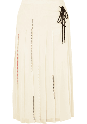 Carven - Lace-up Pleated Silk-chiffon Midi Skirt - Cream