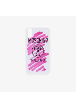 Moschino pink and white logo stroke print iPhone XS/X case