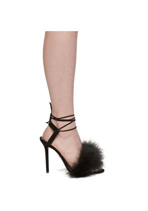 Charlotte Olympia Black Suede Feather Salsa Sandals