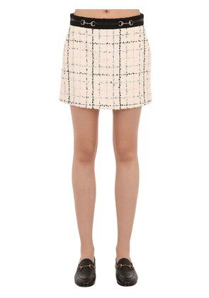 Cotton Blend Tweed Mini Skirt