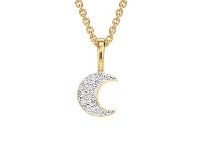 Gold Pave Moon Charm Necklace