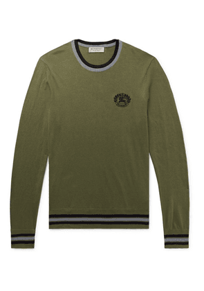 Burberry - Slim-fit Logo-embroidered Cotton And Silk-blend Sweater - Army green