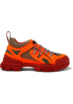 Gucci - Flashtrek Reflective Rubber, Leather And Mesh Sneakers - Orange