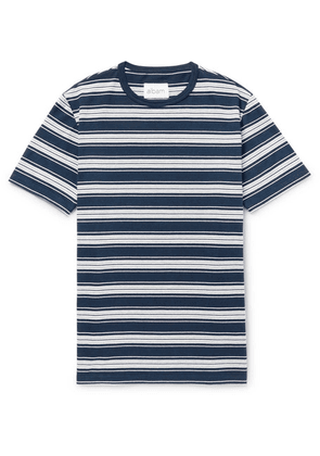 Albam - Striped Cotton-jersey T-shirt - Blue
